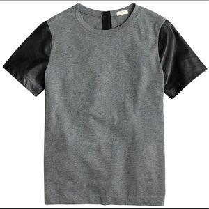 J. Crew black label small grey leather tee shirt
